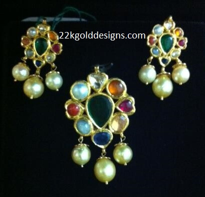 Navaratna Pendant and Earrings