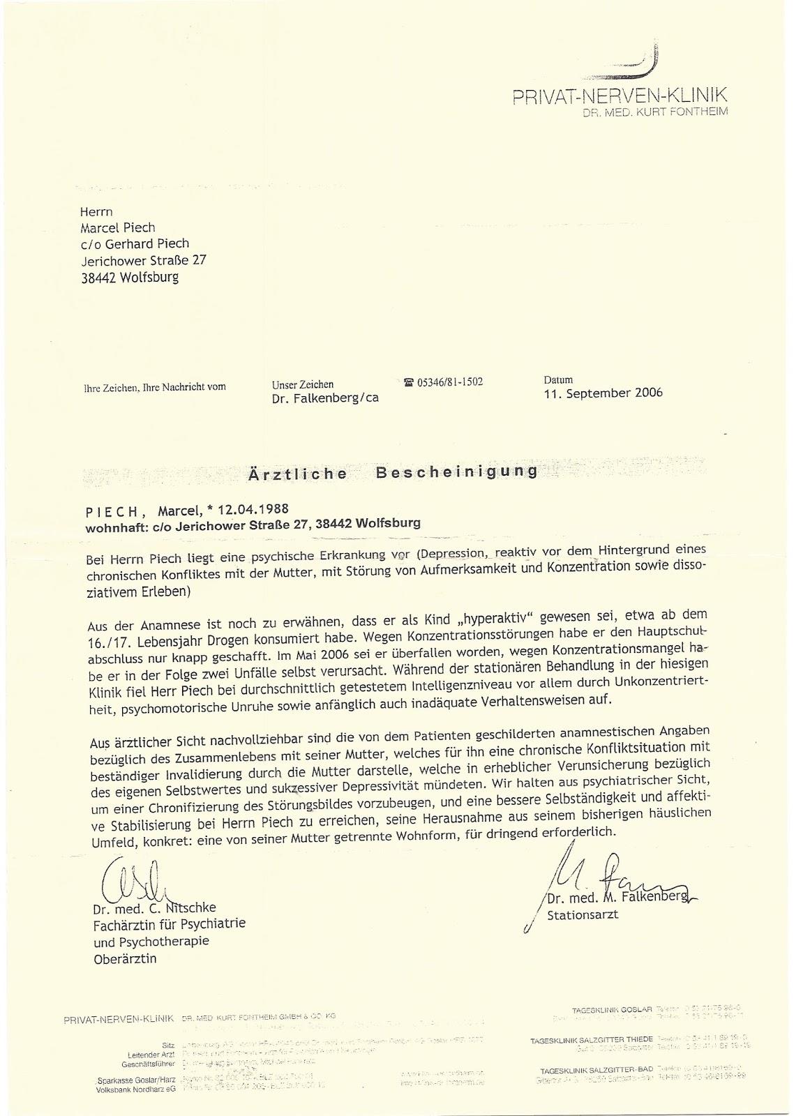 Ärztliche Bescheinigung über psychaitrischen Aufenthalt Marcel Piech ...
