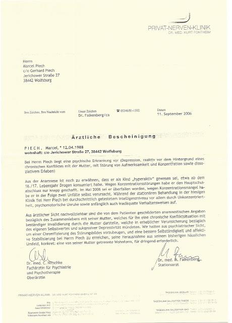 Ärztliche Bescheinigung Psychiatrie wegen Drogenmißbrauch Marcel ...