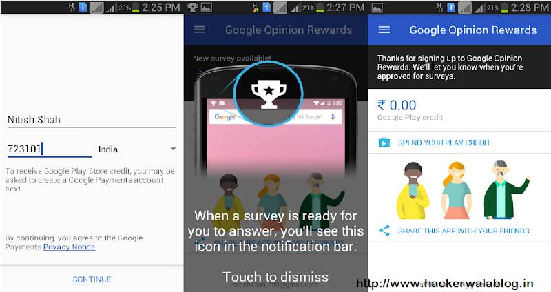 Google Opinion Reward India