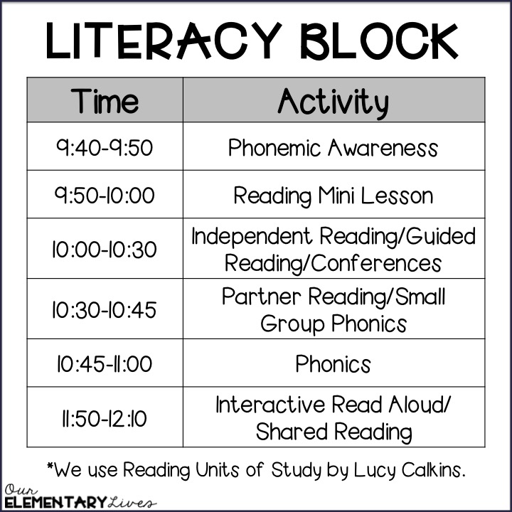 How To Fit It All In A First Grade Schedule Paige Bessick The Interactive Teacher