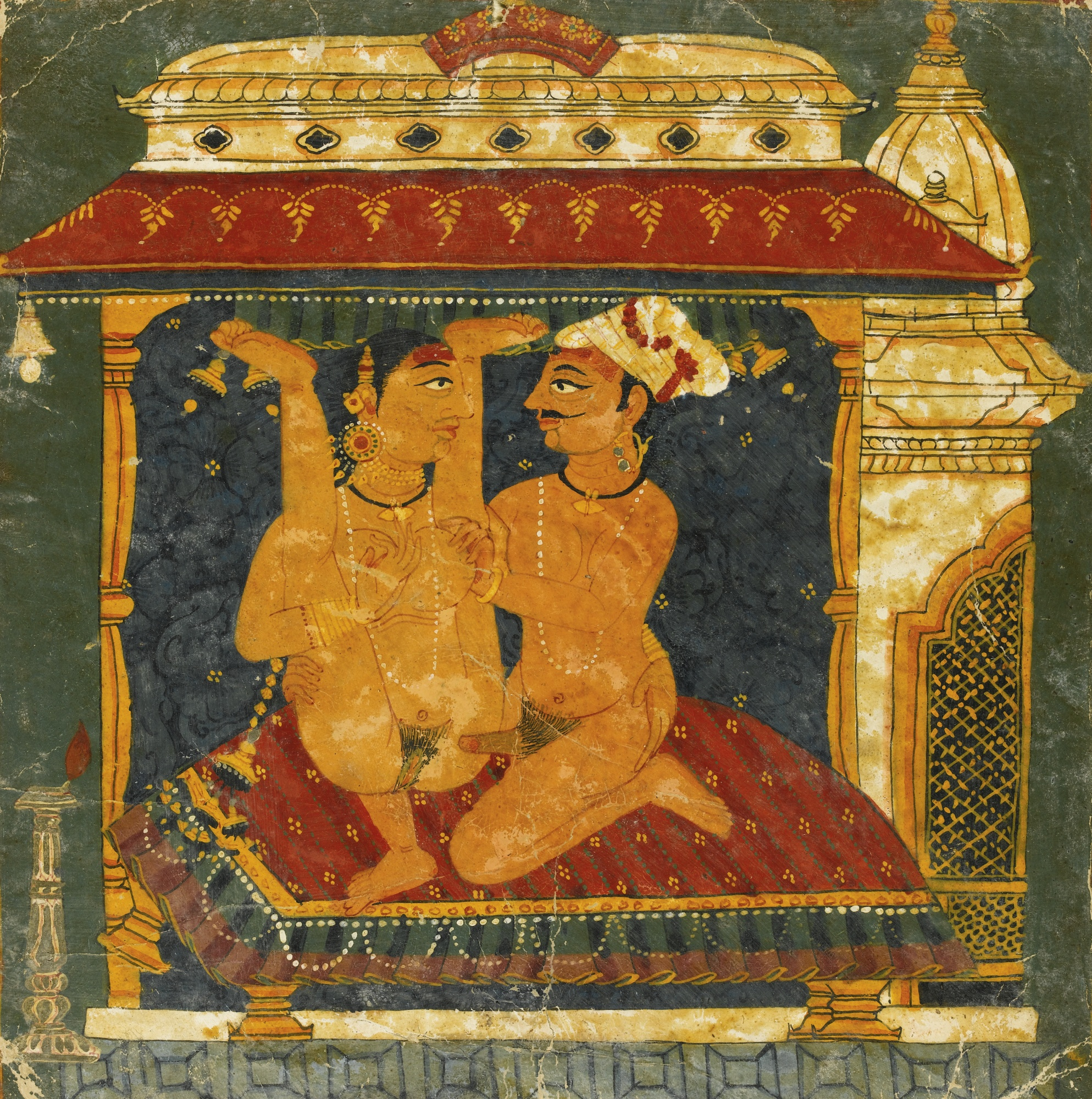 Lovers Engaged in Lovemaking on a Bed - Miniature Painting, Nepal, Bhaktapur, circa 1675
