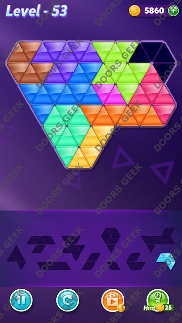 Block! Triangle Puzzle Master Level 53 Solution, Cheats, Walkthrough for Android, iPhone, iPad and iPod