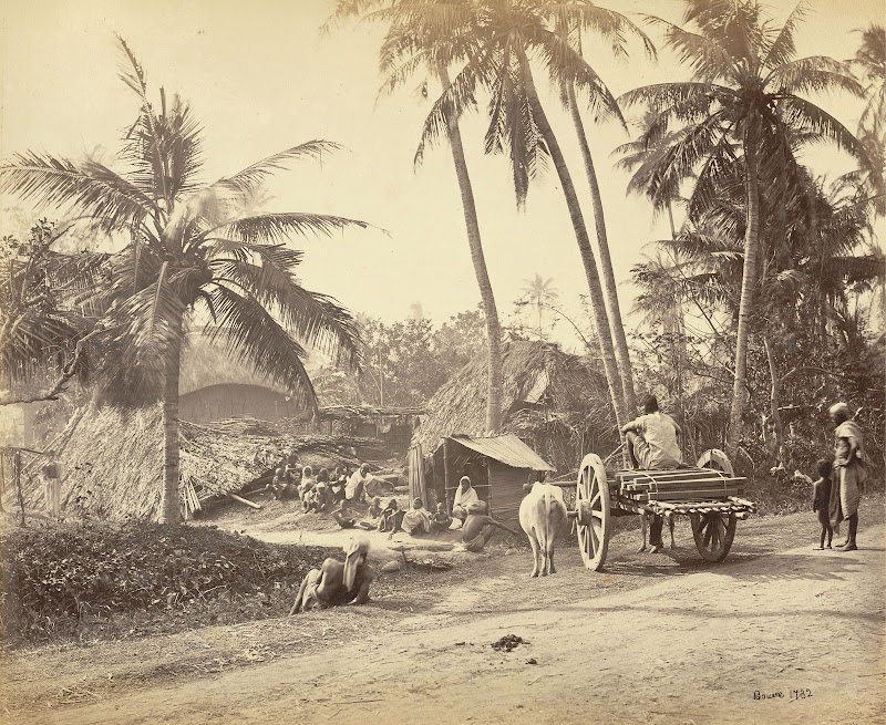 Bengal Village Showing villagers Outside Thatch Houses, Bullock Cart Near Roadside - Samuel Bourne 1863
