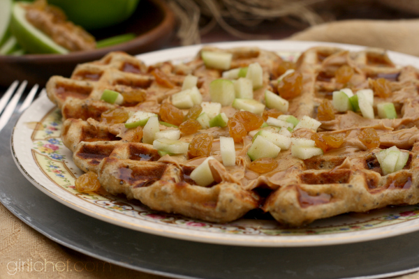 Peanut Butter Apple Raisin Waffles w/ Chia Seeds + a Better Breakfast Month Giveaway