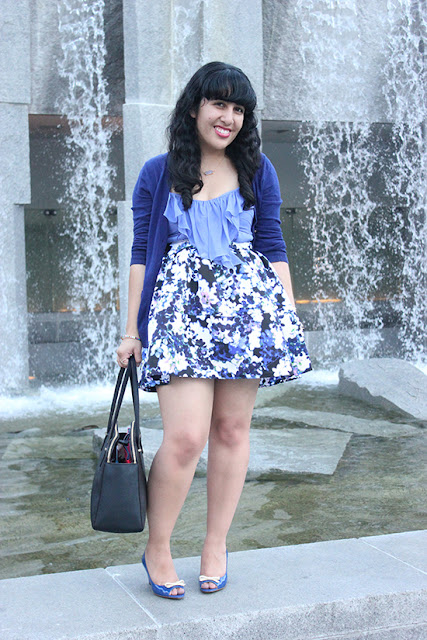 Blue Monochrome Floral Print Skirt Spring Blogger Style | Will Bake for Shoes