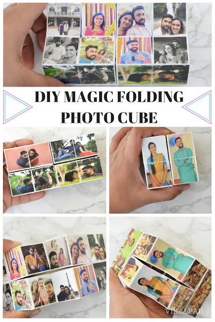 folding photo cube from dollar store alphabet blocks