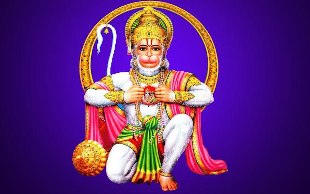 Best God Hanuman Wallpaper In Blue Background