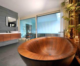Phong cách thiết kế Á Đông kết hợp ăn ý với bồn tắm gỗ