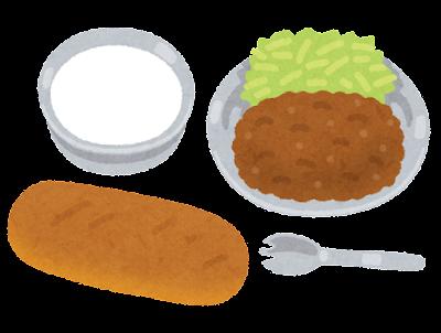 昔の給食のイラスト(トレイなし)