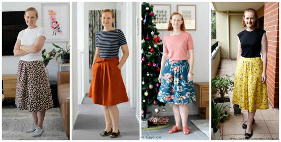lady modelling four versions of pleated skirts