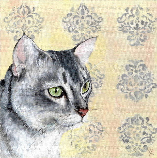 oil painting of a cat with green eyes against a damask wallpaper
