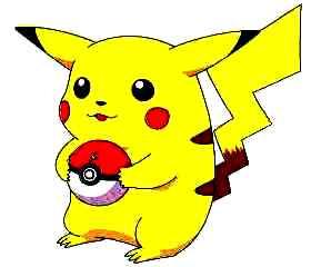 Dibujo de Pikachu feliz con su pokebola