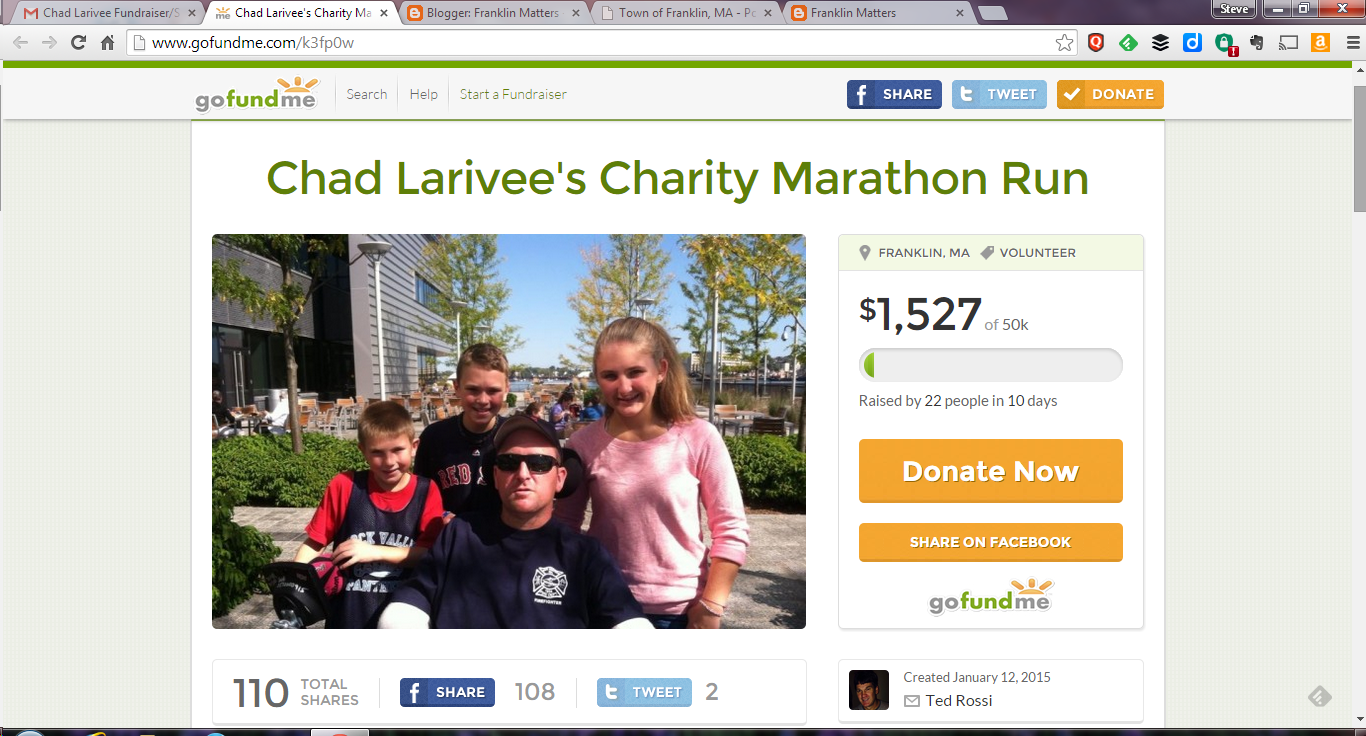 screen grab of Larivee Fund Raising page
