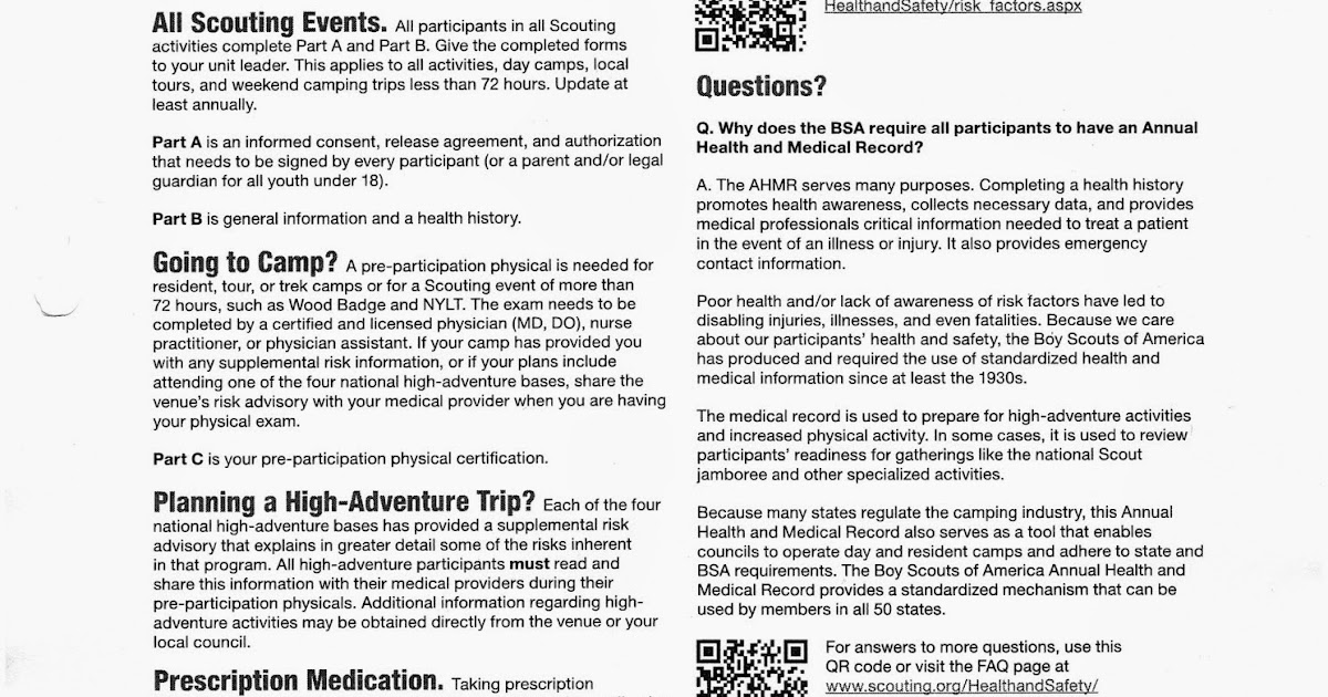 Centerville Scouts 557  Why Fill out the Annual Health and Medical