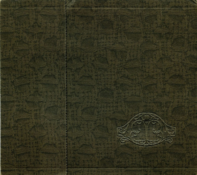 Part of a bookcover from a late Victorian Book with impressed design and seams.