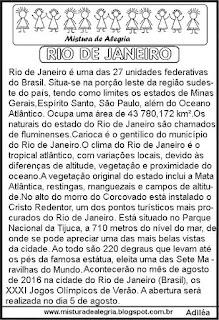 Jogos olímpicos e Rio de Janeiro