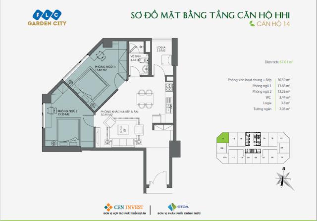 Thiết kế căn hộ 14, 67m, HH1 FLC Garden City