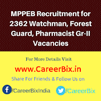 MPPEB Recruitment for 2362 Watchman, Forest Guard, Pharmacist Gr-II Vacancies