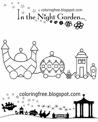 Suggestions for art taking a ride on the Ninky Nonk in the night garden train coloring for beginners