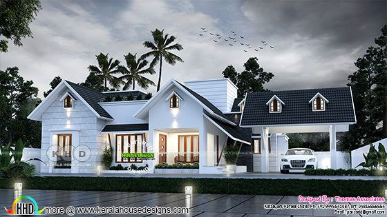 Sloping roof 3 BHK house with detached car porch