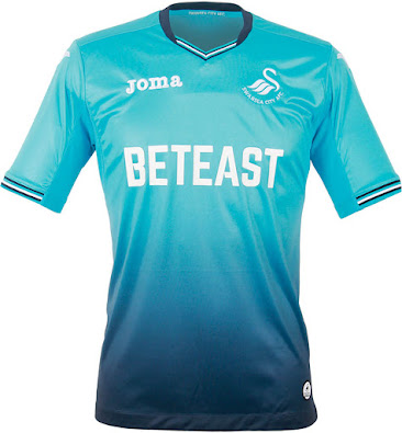 Turquoise Joma Swansea City AFC 2016-2017 Home Soccer Jersey Brand New White
