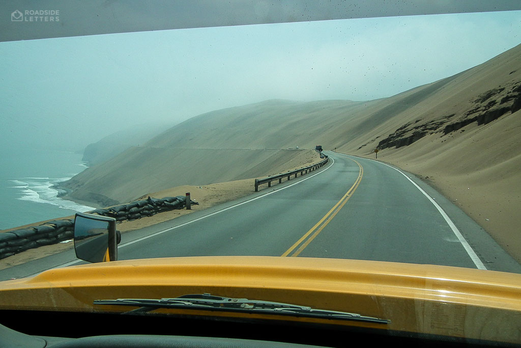Road PE-1N through desert north of Lima Peru