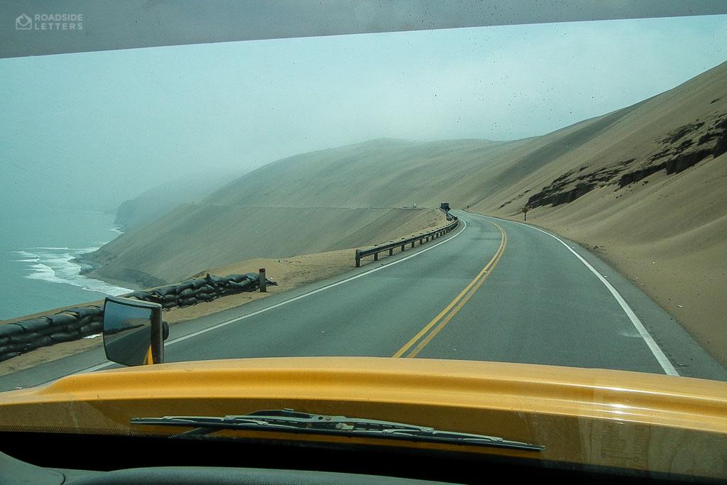 Road PE-1N through desert north of Lima Peru