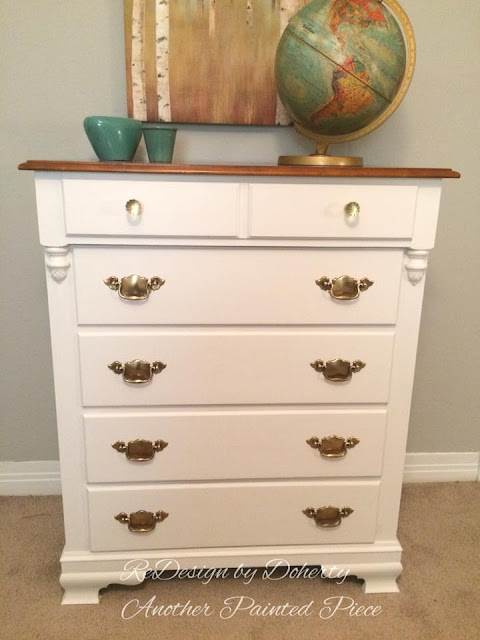 white dresser with bail pulls