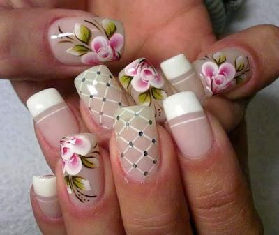 Decoracion de uñas con flores para matrimonio