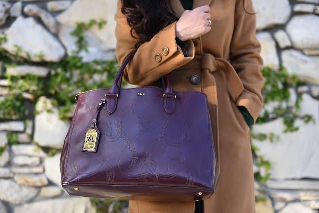 Ralph Lauren Taylor double-zup burgundy equestrian embossed print satchel bosch camel coat