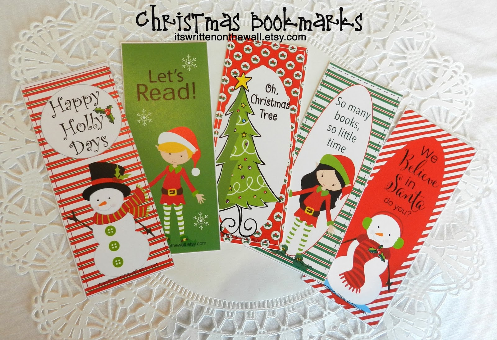 Its Written On The Wall 12 Different Christmas Bookmarks