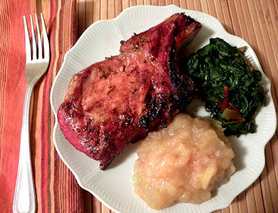 Honey Grilled Pork with Homemade Applesauce and Steamed Chard