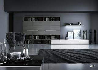 sala minimalista en blanco y negro