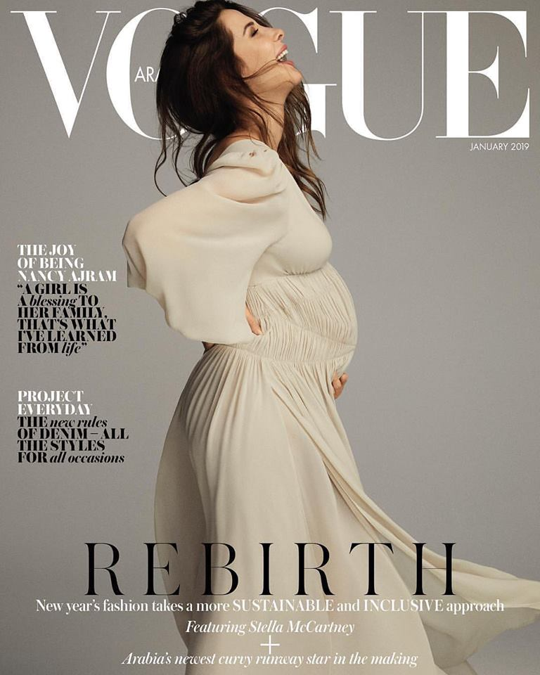 Nancy Ajram flaunts pregnant belly for Vogue Arabia January 2019