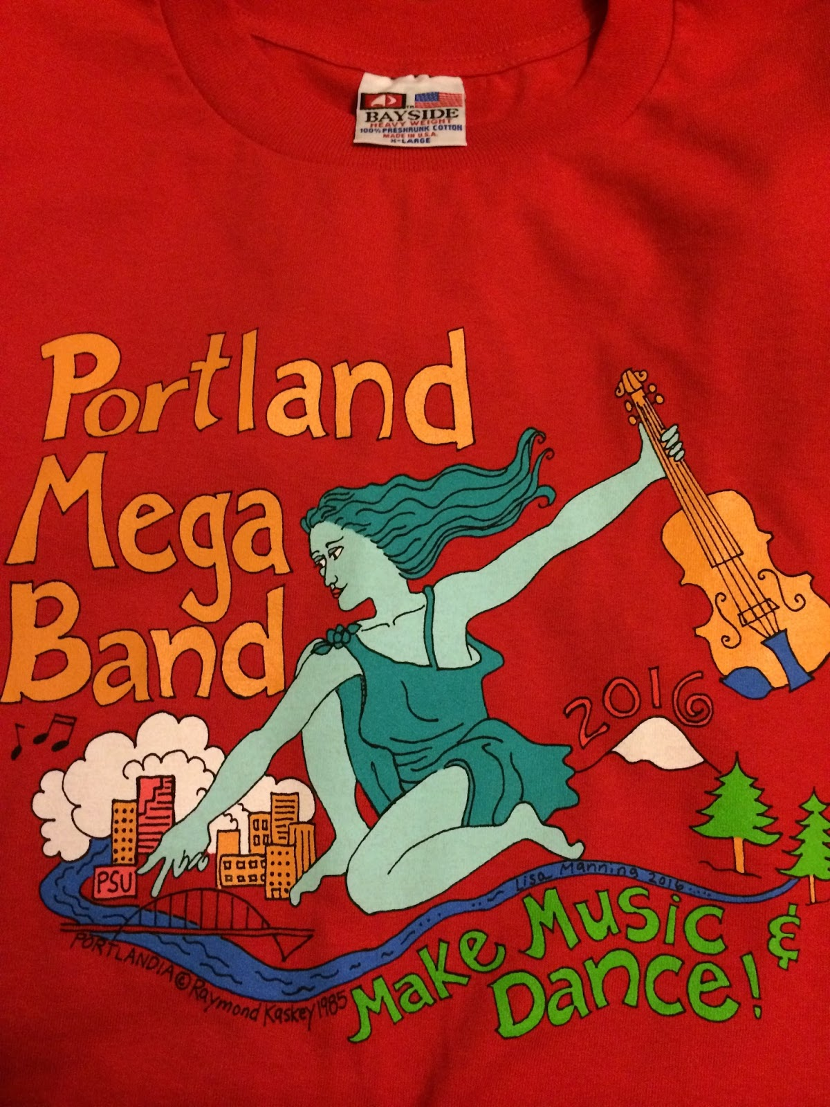 Portland megaband has 2 t shirts for 2016 both designed by me sue songer our director got permission from the portlandia statue artist raymond kaskey