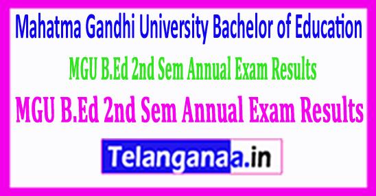 Mahatma Gandhi University MGU B.Ed 2nd Sem Annual Exam Results 2018