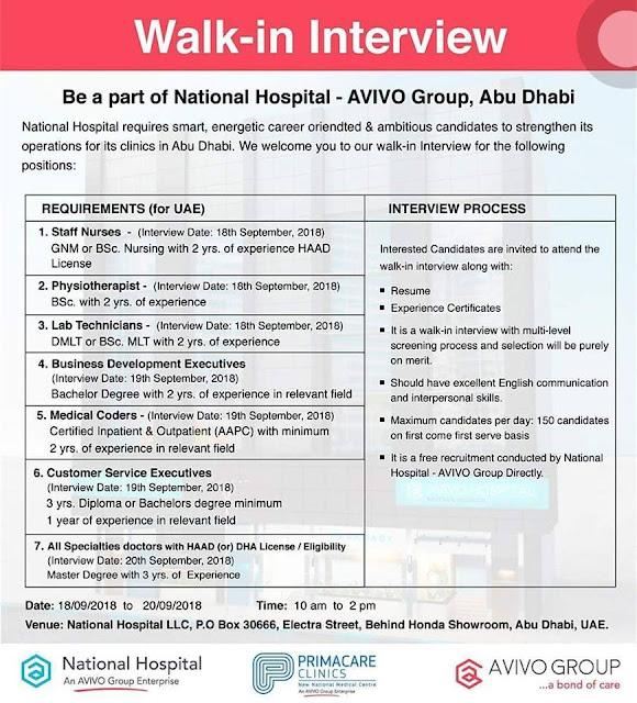 Staff Nurse Walk-In-Interview in National Hospital Abu Dhabi