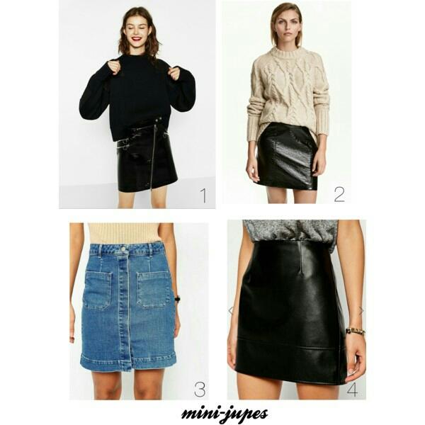 1. Mini jupe à zips ZARA 2. Jupe enduite H&M 3. Jupe fourreau délavé en jean ASOS 4. Mini jupe imitation cuir ASOS