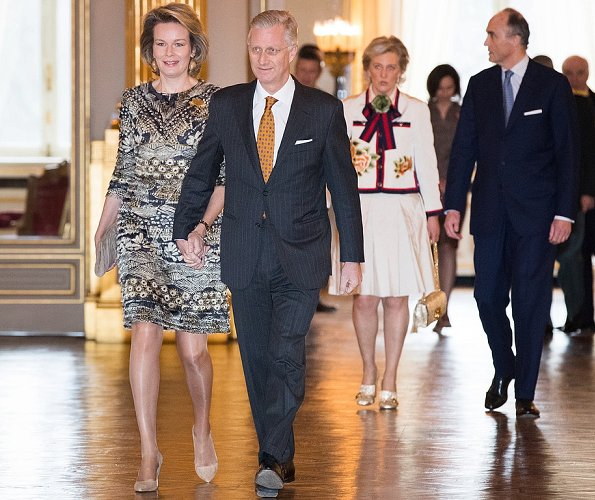 Queen Mathilde and Princess Astrid wore Dries Van Noten print dress, A Bag with a Story Clutch Tikli Jewelry earrings