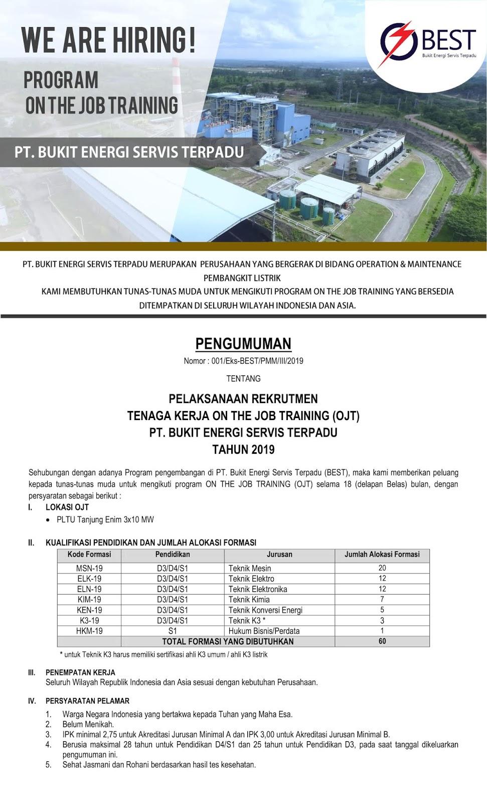 Lowongan Kerja PT Bukit Energi Servis (PT Bukit Asam Group) Tahun 2019