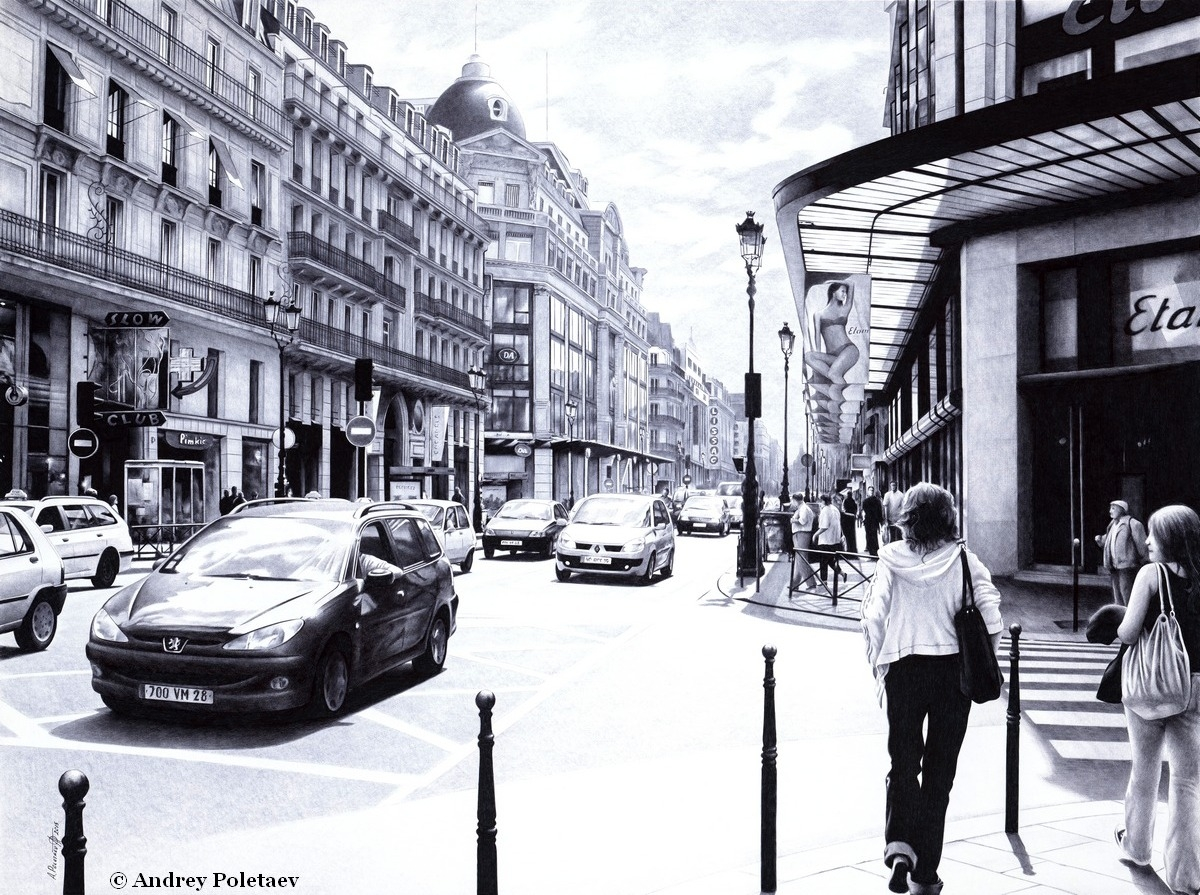 02-Parisian-Street-Andrey-Poletaev-Detailed-Urban-Drawings-achieved-with-a-Ballpoint-Pen-www-designstack-co