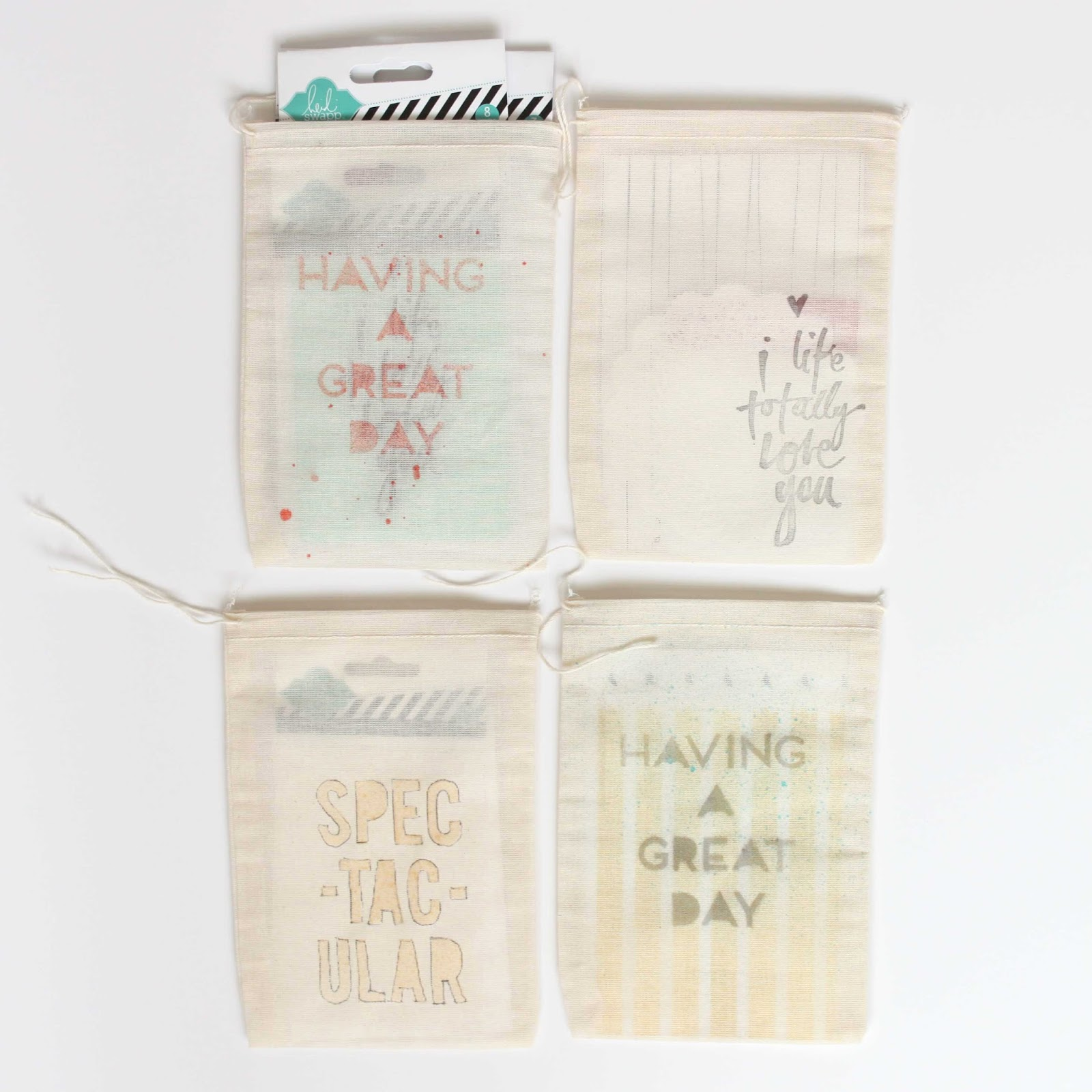 Stephanie Makes: Heidi Swapp: DIY Stenciled & Stamped Gift Bags