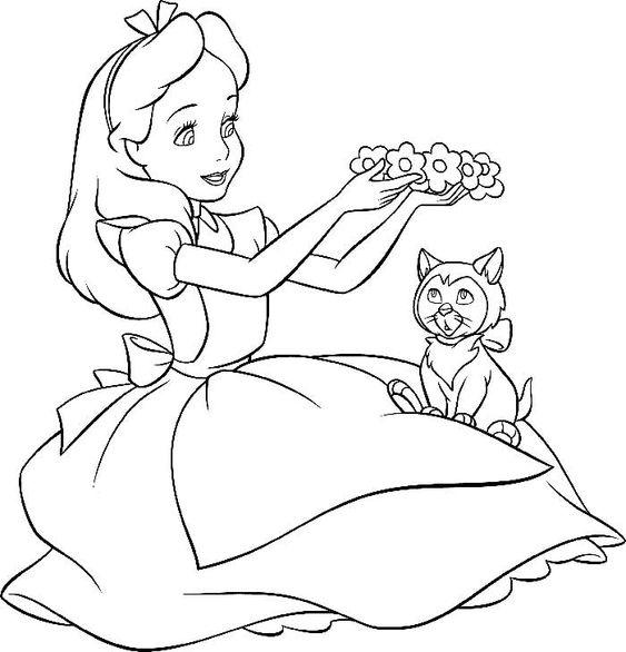 Tranh tô màu Alice ở xứ sở thần tiên và chú mèo