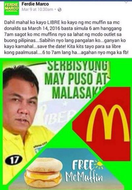 Want free McMuffins from Ferdie Marco?