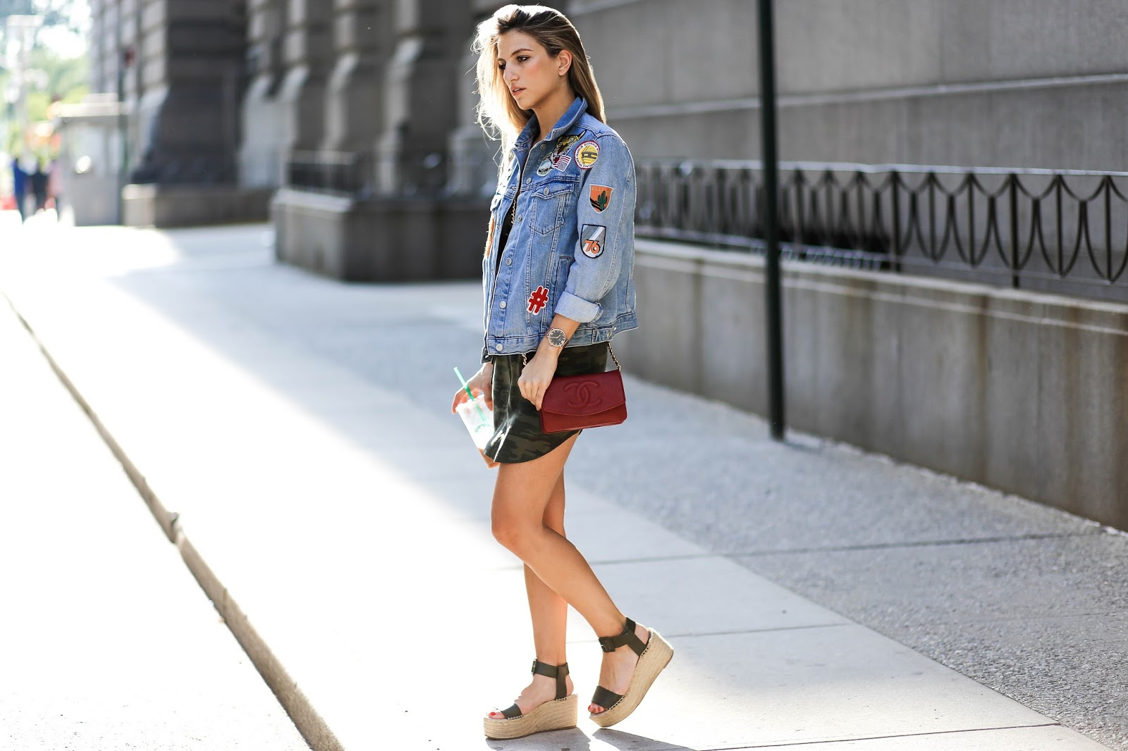 Denim Jacket with Patches - Dressed For Dreams