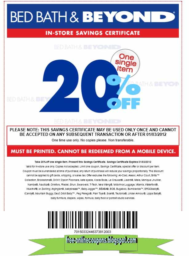 Bed bath beyond coupon february 2018