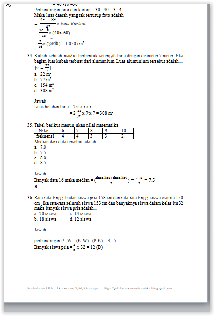 Pembahasan UNKP Matematika SMP 2017