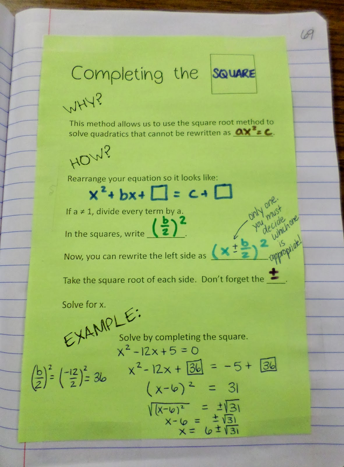 Math Love Completing The Square Interactive Notebook Page