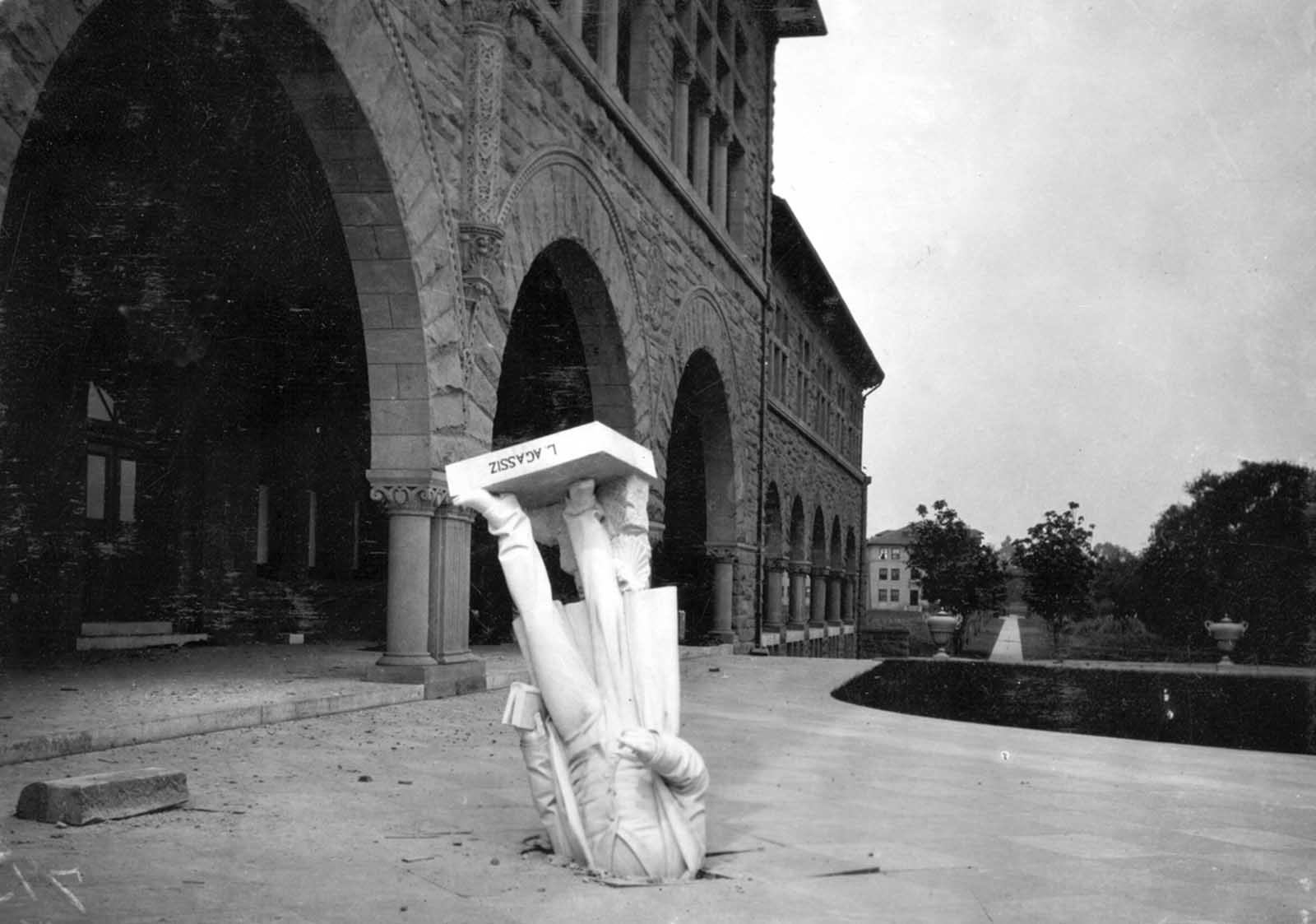 The toppled statue of Jean Louis Rodolphe Agassiz, scientist and scholar, knocked from the facade of Stanford University's zoology building in April of 1906.